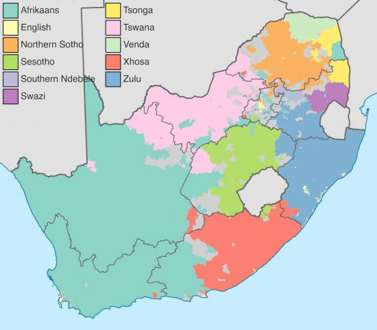 A map indicating the predominant languages in South Africa