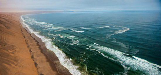 Desert meets ocean along Skeleton Coast, Namibia