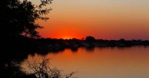 Sunset over the Zambezi river in Caprivi strip southen namibia