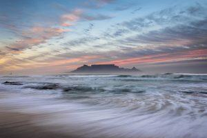 Morning sunrise in Cape Town with Table Mountain