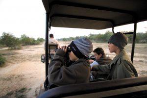 Enfant en safari regardant avec des jumelles