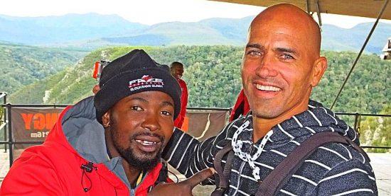 Kelly Slater antes de saltar de bungee jump na África do Sul