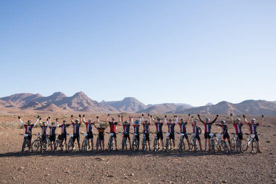 a victorious team in desert