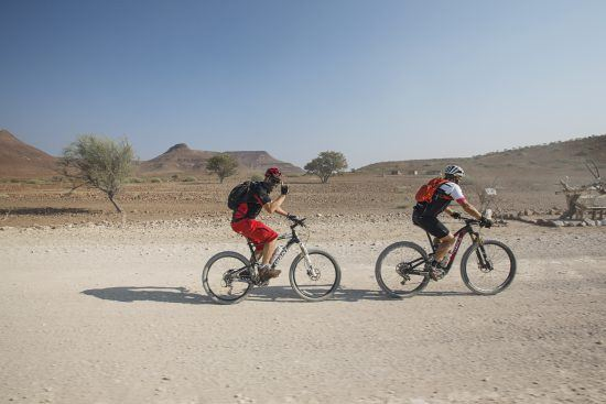Challenge4ACause cyclists in the desert