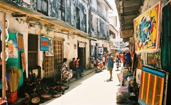 Art market in the streets of Stone Town in Zanzibar