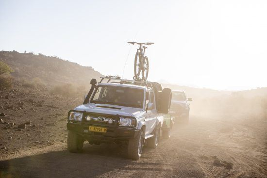 Bicycle on bakkie in Namibia