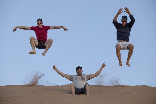 Jumping on the sand dunes