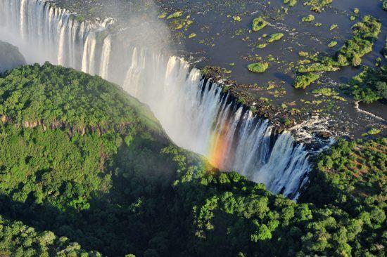 Victoria Falls adorns a rainbow