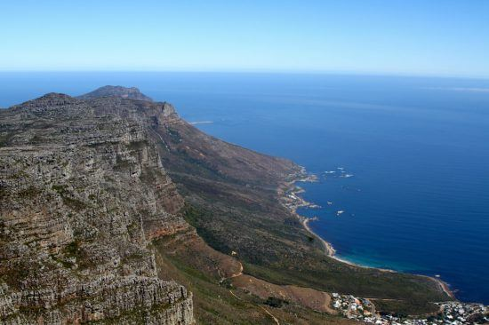 Beautiful View from Table Mountain of the ocean