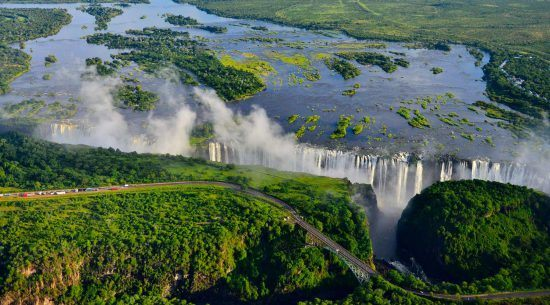 victoria falls river views aerial