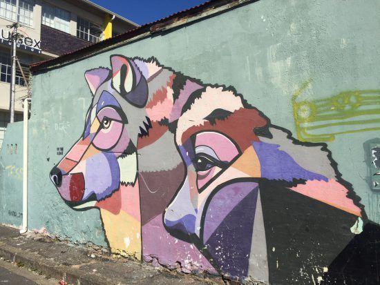 Wolf-Kunstwerk in Woodstock, Kapstadt