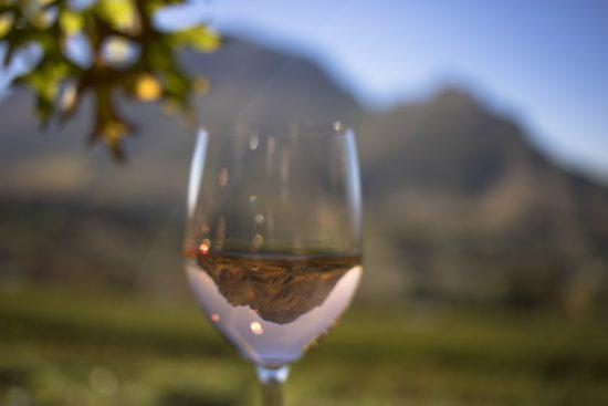 Wine tasting under the mountains in the Western Cape of South Africa