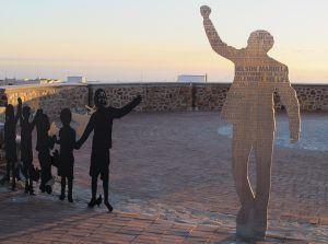 Oeuvre à la mémoire de Nelson Mandela à Port Elizabeth, Cap-Oriental, Afrique du Sud