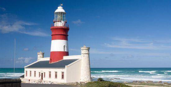 Lighthouse at the Cape Agulhas in South Africa
