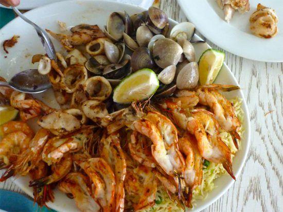 Mozambican cuisine: prawns, clams and calamari.