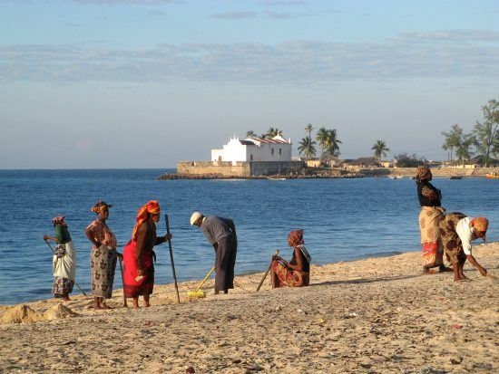 Mozambican people on the beach