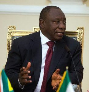 Südafrikas Präsident Cyril Ramaphosa bei einer Pressekonferenz