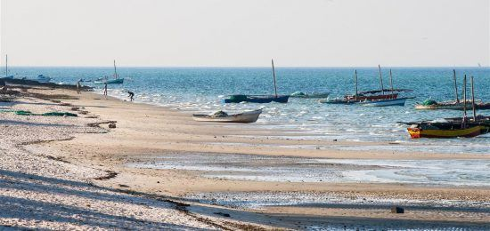 Mozambique beach filled with dhows and locals at Vilanculos