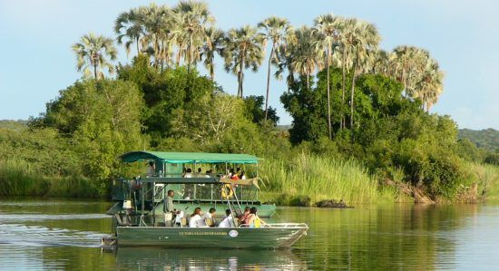 Um cruzeiro de barco no rio Zambeze