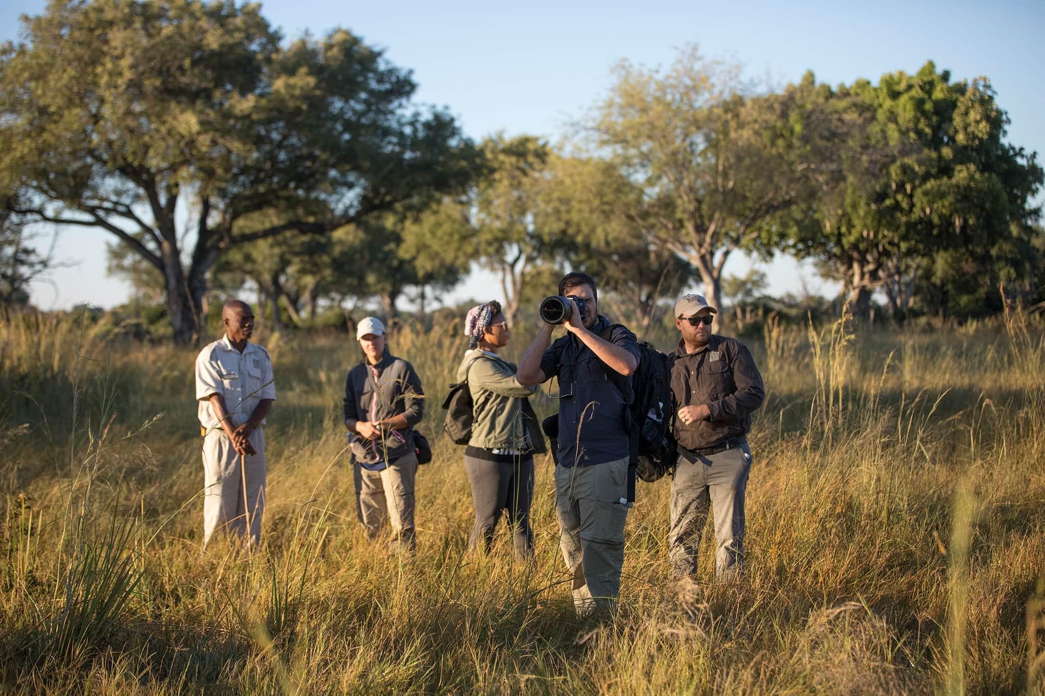 botswana moremi okovango delta people bushwalk camera