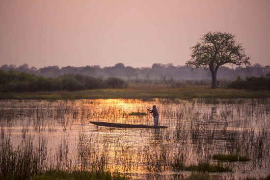 Mann in einem traditionellen Mokoro (Kanu) im Okavango Delta in Botswana