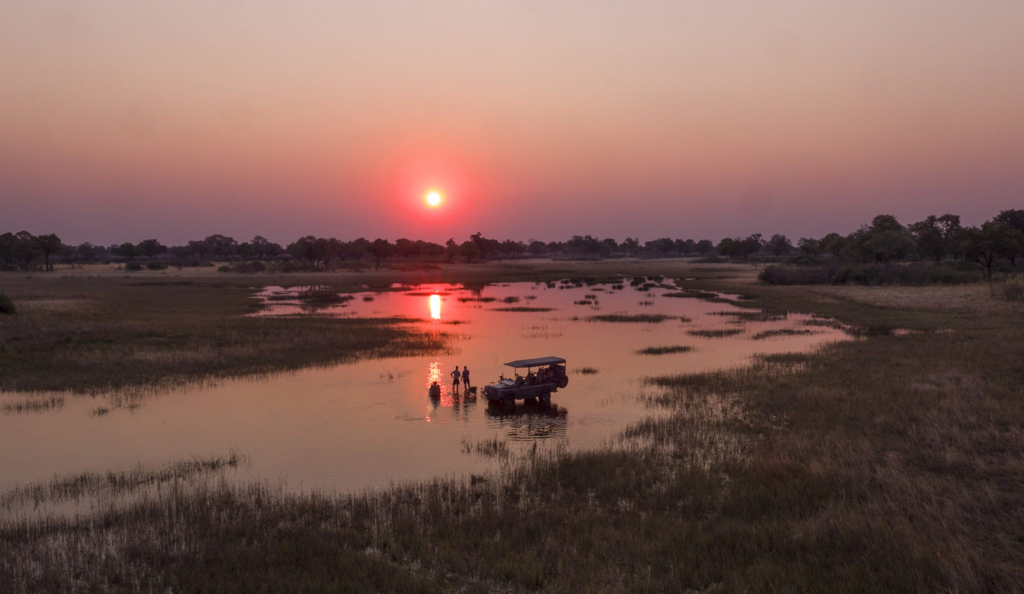 sunset game drive vumbura plains okavango delta botswana