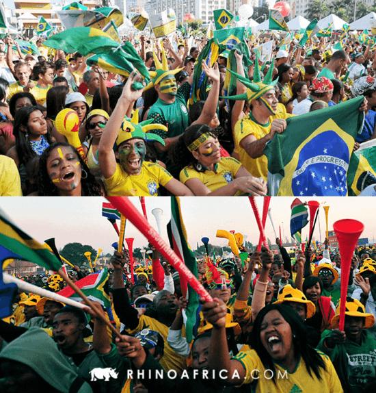 Semelhanças entre Brasil e África do Sul - Torcida do Brasil acima, e torcida da África do Sul abaixo