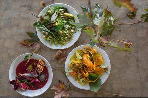 Gastronomie et plats colorés au restaurant Babel, Babylonstoren.