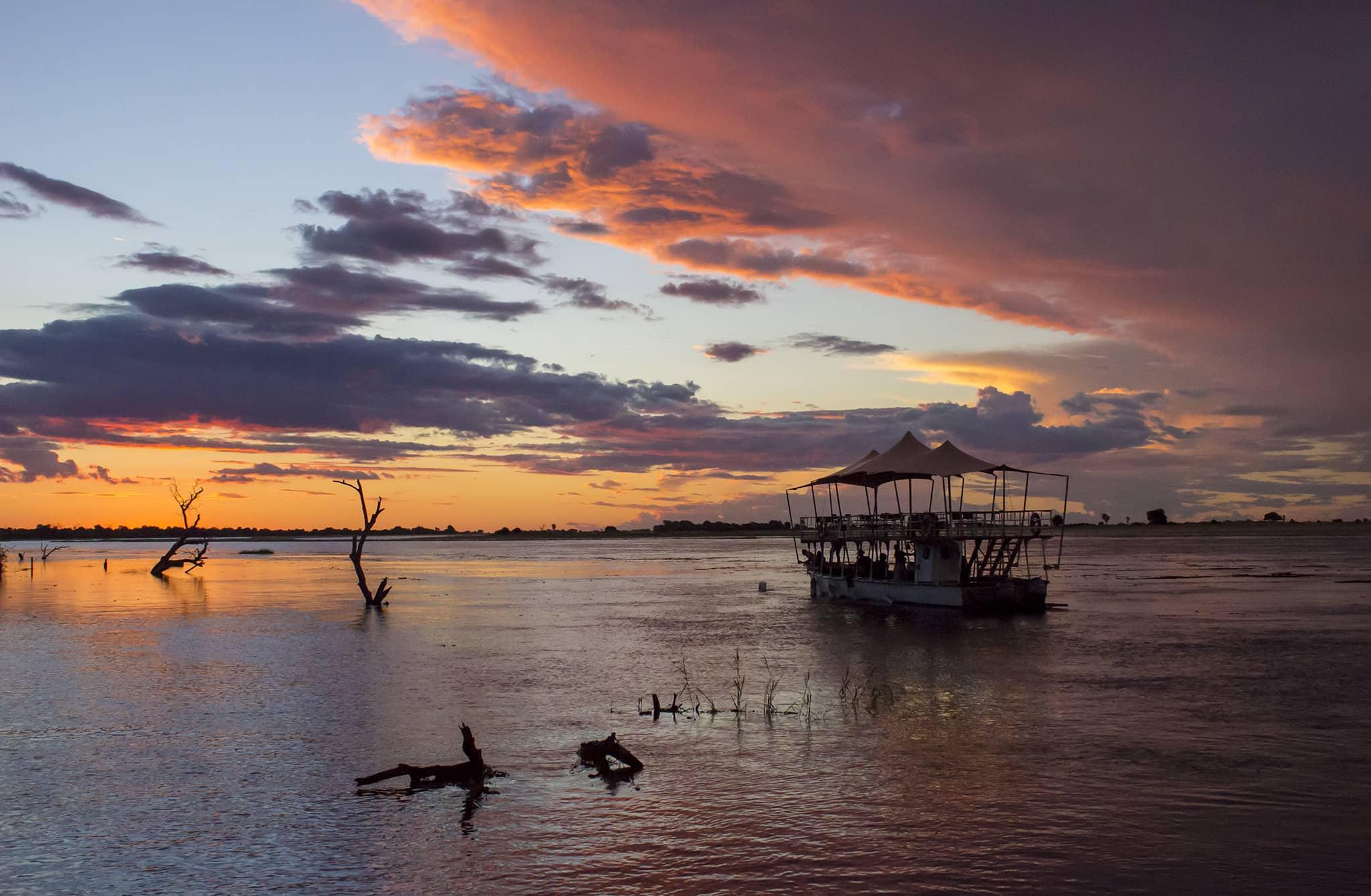Botswana Moremi Okavango Delta Chobe boat cruise Sunset