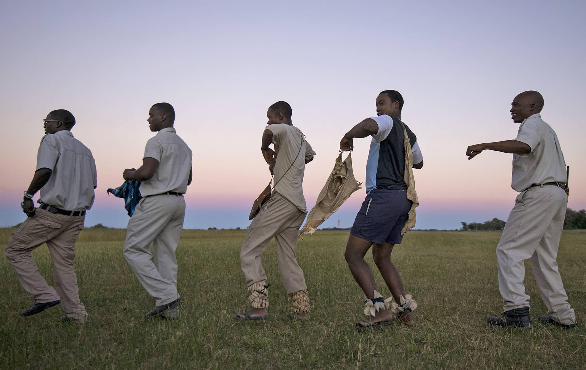 Botswana Moremi Okovango Delta staff dancing