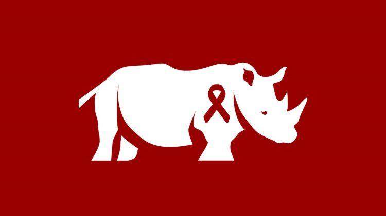 Logo de Rhino Africa con el listón de la lucha contra el sida