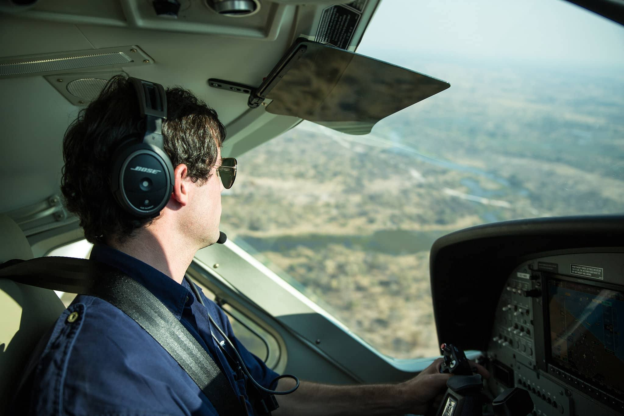 Airplane pilot camp Botswana
