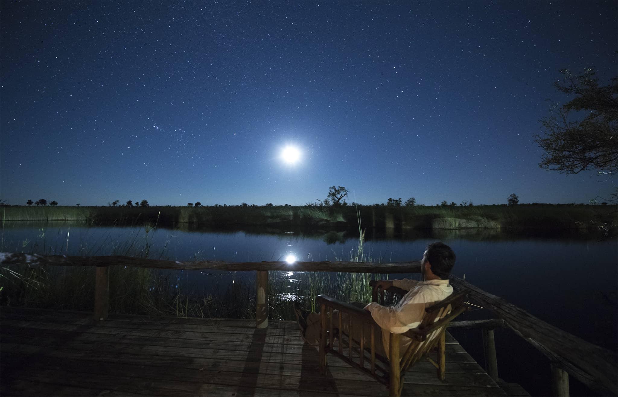 botswana moremi okovango delta full moon long exposure stars