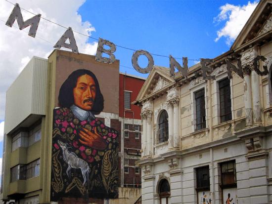 Street art retratando Jan van Riebeeck, em Maboneng, Joanesburgo