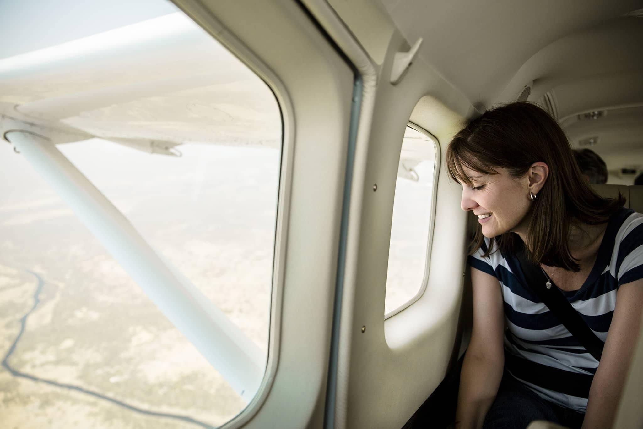 Woman airplane Botswana