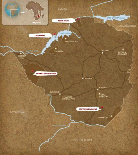 Karte Simbabwe Rhino
