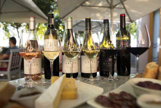 Eine Auswahl an Weinen im Glas vor der jeweiligen Flasche sowie Käse und Brot
