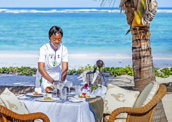 Beach side lunch is served at Diani Beach