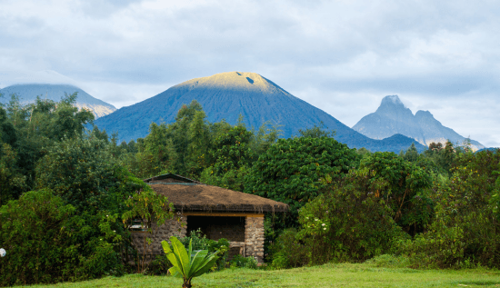 Die Mountain Gorilla View Lodge vor einer Bergkulisse in Ruanda