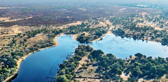 Ausläufe des Okavango Delta in Namibia aus der Vogelperspektive