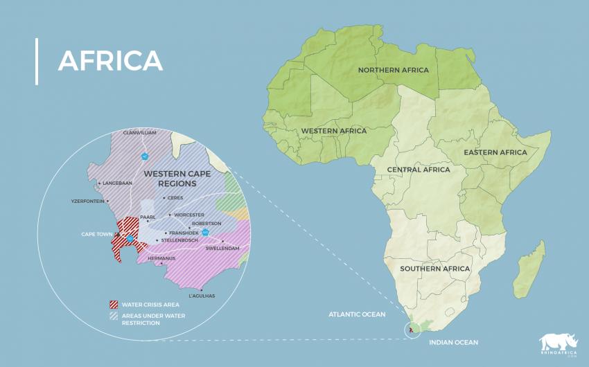 Mapa de África y de la Ciudad del Cabo