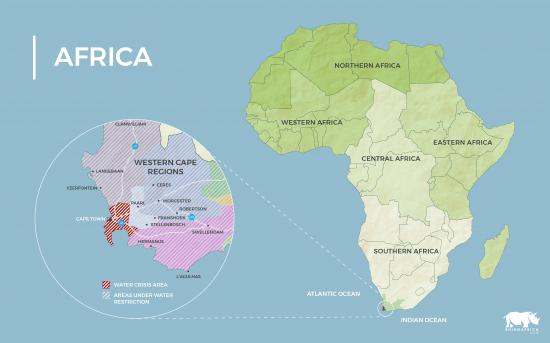Mapa da África com a região metropolitana afetada pela seca no Cabo Ocidental em destaque