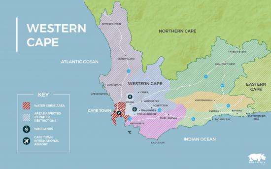 Um mapa da África mostrando as regiões afetadas pela crise hídrica