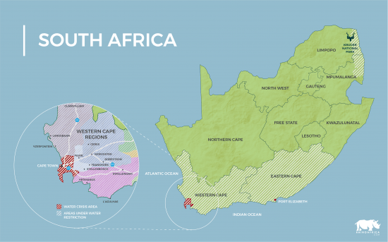 Um mapa do Cabo Ocidental da África do Sul, onde as regiões afetadas pela crise hídrica na Cidade do Cabo são identificadas