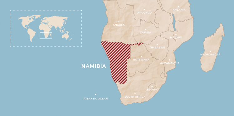 Namibia map. Design by Terri Lourens (Rhino Africa)