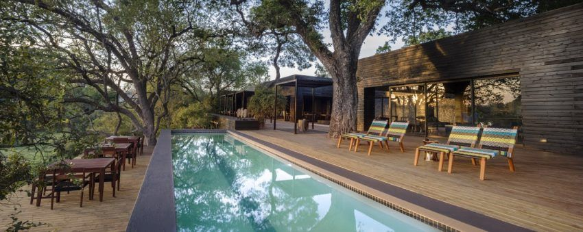 La gran piscina en el lodge principal de Silvan Safari, Sabi Sand, Kruger