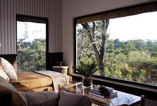 Loungebereich im Pioneer Camp mit großer Glasfront im Busch