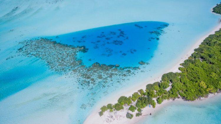 Récifs coralliens et plages de sable blanc dans l'archipel des Maldives.