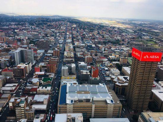Vogelperspektive auf das Stadtzentrum von Johannesburg