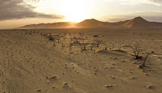 sunset over Namibia's desert